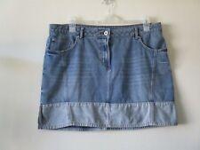 DENIM SKIRT Short Distressed Blue Faded Pockets Festival Boho Sz 18 NEW