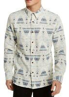 Sun + Stone Mens Shirt Blue Size Large L Button Down Fay Geo Print $45 #233
