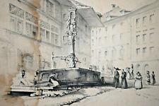 FRIBOURG Lithographie DANDIRAN Fontaine Stalden Veith Hauser ALLEMAGNE 1838