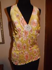 Laundry by Shelli Segal halter/blouse/shirt floral gold 100% Silk