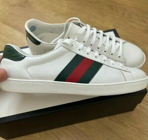 Gucci Sneakers Mens Classic Fasion White Leather Strip Shoes 386750 9us 42.5eu
