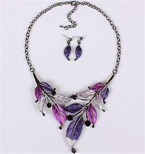 CHIC Women Crystal Statement Pendant Bib Necklace Earrings Fashion Jewelry Set