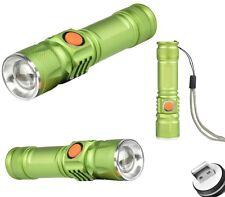 MINI TORCIA CREE LED T6 BATTERIA RICARICABILE TRAMITE USB  CON ZOOM  M.515 VERDE