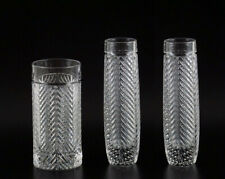 Ralph Lauren Classic Herringbone Crystal Bud Vases Highball Glass Lot Art Deco