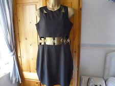 BOOHOO BLACK CUT-AWAY EYELET SHIRT DRESS SIZE 14 BNWT