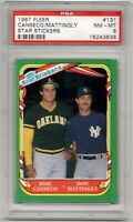 1987 Fleer Star Stickers #131 Jose Canseco & Don Mattingly Graded by PSA 8 NM-MT