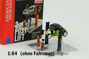 Car Lift 2 Post Lift with Figure Blue Diecast 1:64 American Diorama Mijo