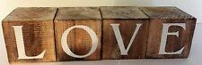 Wooden Chunky Cube Blocks LOVE Shabby Chic Decoration