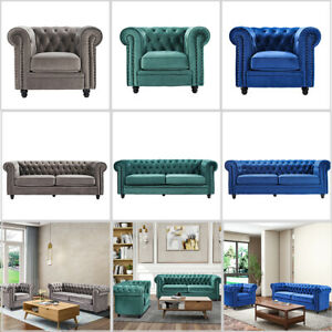 Velvet Couch Chesterfield-style Sofa Armchair Tufted Cushions For Living Room