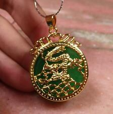 Gold Plate Green JADE Pendant Circle Dragon Diamond Imitation with chain 286848