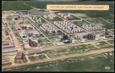 LAKE CHARLES LA Cit-Con Oil Refinery Vintage Postcard AS IS Old Linen PC