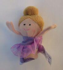 q light brown hair purple Ballerina FINGER PUPPET Ganz plush new