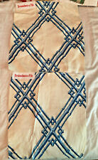 BRUNSCHWIG & FILS Bamboo Trellis Blue 2 pieces Embroidered Fabric Samples