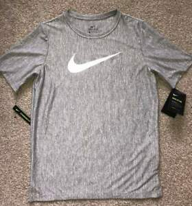 NWT Nike Boys YXL Dri-Fit Heathered Gray T-Shirt Sports Athletic Wear
