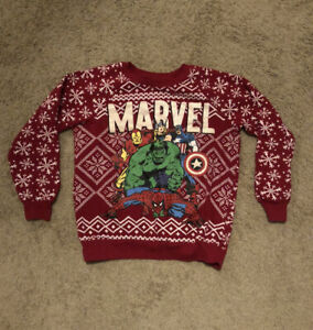Marvel Sweater   Marvel Avengers Hero's Ugly Christmas Sweater  Red  Size (S)