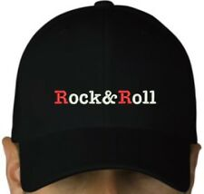 Rock & Roll embroidered black cap hook and loop closure heavy metal hat