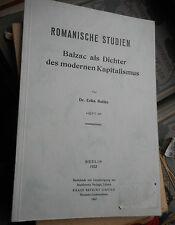 Erika Buttke: Balzac als Dichter des modernen Kapitalismus (1932) reprint 1967