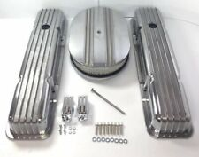 Small Block Chevy Finned Aluminum Short Valve Covers W/ Half Finned Air Cleaner