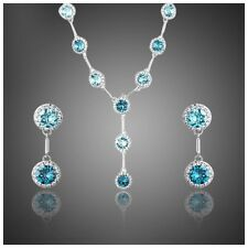 DF101 Made With Swarovski Crystals Silver & Blue Elegant Y Necklace Set $148