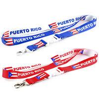 2 Puerto Rico Flag Reversible Neck Strap Lanyard Detachable Keychain for ID Keys
