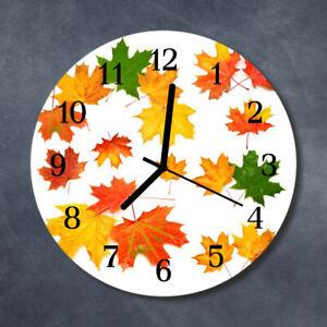 Tulup Reloj de pared de cristal cocina silencioso redondo 30 cm Hojas Naturaleza
