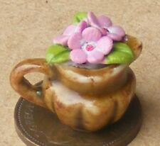 1:12 Scale Pink Hand Painted Ceramic Flowers In A Jug Tumdee Dolls House Garden