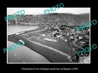 OLD LARGE HISTORIC PHOTO CHRISTCHURCH NEW ZEALAND AERIAL VIEW OF SUMNER c1930