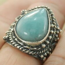 Great Blue Larimar Gemstone Silver Ring Jewelry SizeE 10 H279