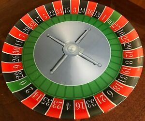 "Casino Nights 12 1/2"" wide red, black, & green Serving Platter of a Roulette whe"