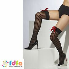 BLACK OPAQUE HOLD UPS STOCKINGS + SEQUIN HEARTS ladies accessory womens hosiery