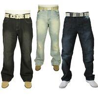 New Men's Straight Leg Jeans Stretchable Denim Trouser Pants Free Belt All Waist
