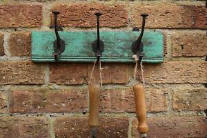 Vintage Reclaimed Wooden Coat Hooks, Tool Rack, Potting Shed Storage #3