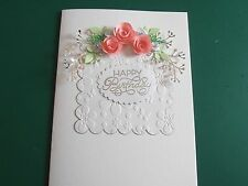 Personalised Handmade Boxed Birthday /Anniversary Card Quilled Pink Roses