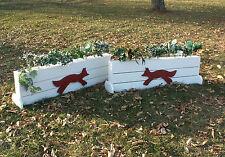 "Horse Jumps Wooden Plank Fox Brush Box 18""x5ft - Set/2 White/Red Fox"