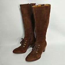 LL Bean Size 7.5 Boots Suede Tall Womens Lace Zipper Brown Heel Boho
