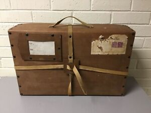 VINTAGE CARDBOARD SHIPPING SUITCASE WITH  ORIGINAL LABEL & STAMPS NEAR MINT