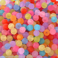 """1000PCS Lots W09 Acrylic Spacer Beads Frosted Round Ball Mixed 6mm(2/8"""")Dia 50"""