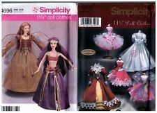 "Simplicity 4696 & 5800 Barbie 11 1/2"" Doll Mystic Dress Pattern s Retired Uncut"