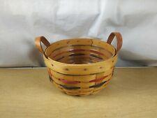Longaberger 2001 Button Round Basket Red Green Blue Stripe Handles Protector