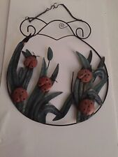 """Rustic Garden Hanging  Metal Lady Bugs Grass Blades Sign Fence Post Porch 13.5""""T"""