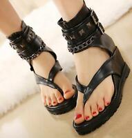 Roma Gothic Ladies Clip toeThongs Metal Decor Wedge Heels Sandals zip Shoes Punk