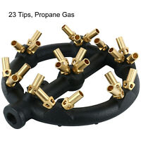 """1x23 Tips 1/2"""" Gas Pipe Inlet Propane Gas Round Nozzle Jet Burner  Cast Iron"""
