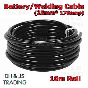 10m Black Battery Welding Cable 25mm² 170a -Flexible Marine Boat Automotive Wire