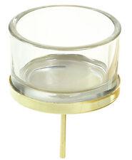 Adventsstecker Glas Metall Gold Teelicht Halter Adventskranz Kuchen Stecker 4tlg