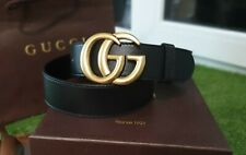 Gucci signature black belt with golden buckle