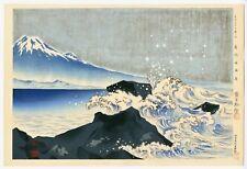 1940 Orig TOKURIKI TOMIKICHIRO Japanese Woodblock Print - Beach of Cape Satta
