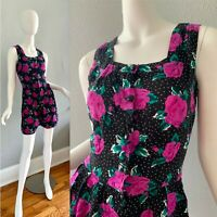Vintage 80s Black Polka Dot Revival Button Rose Print Romper Dress Playsuit M