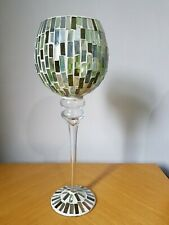 "Mosaic Glass Tile Candle Holder 14"" TALL  Pedestal Goblet Style"