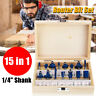 "15Pcs Milling Cutter Router Bit Set Tungsten Carbide Router Bits Kit 1/4"" Shank"