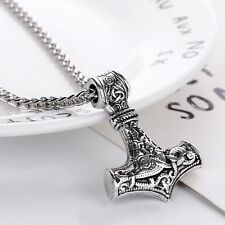 Viking Thors Hammer Pendant Necklace Mjolnir Nordic Silver Steel Keel Chain